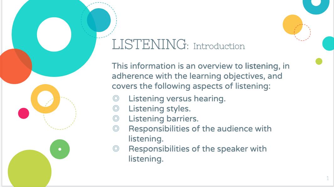 Sample Slide from Listening PowerPoint Presentation