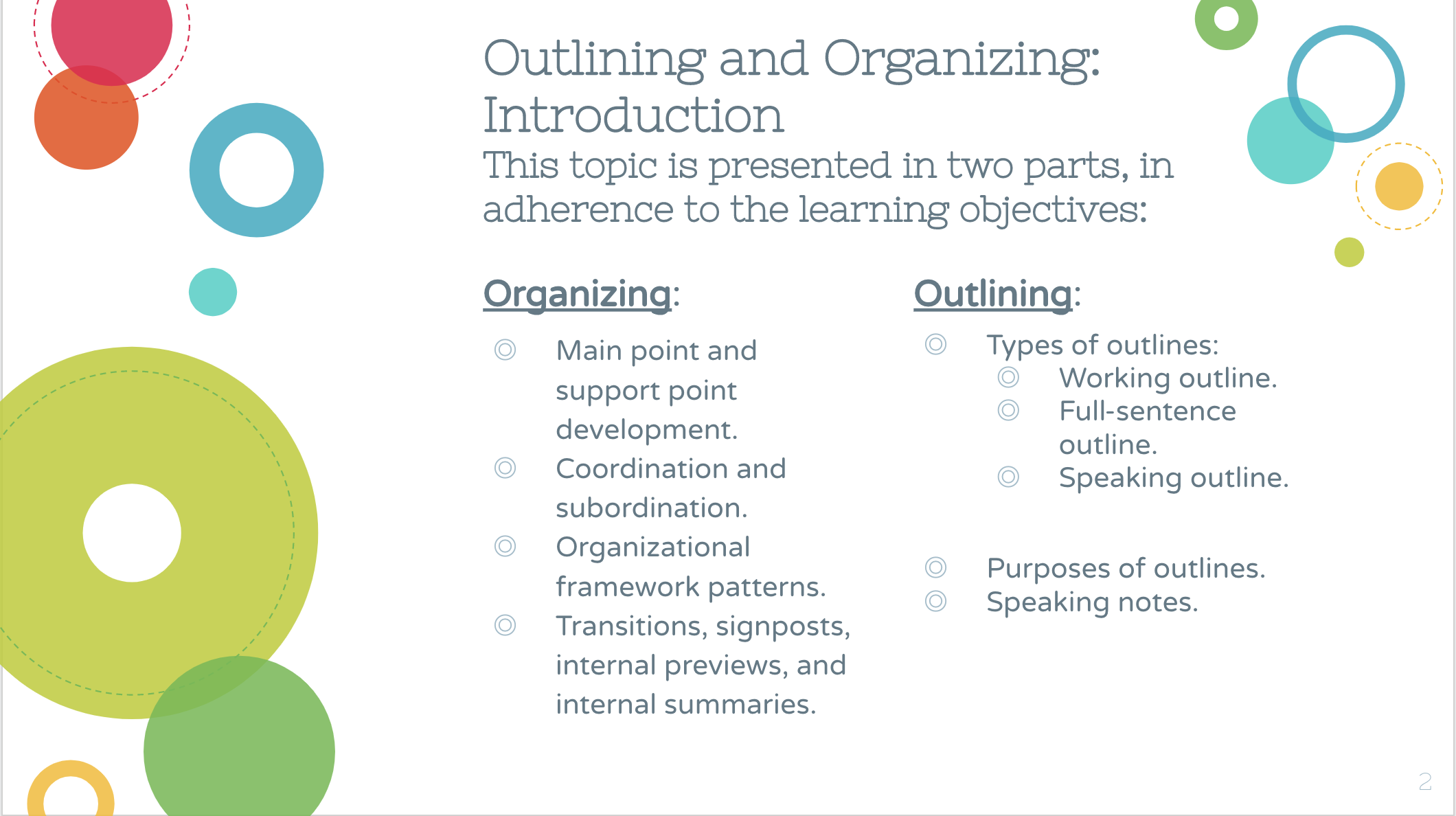 Sample Slide from Outlining & Organizing
