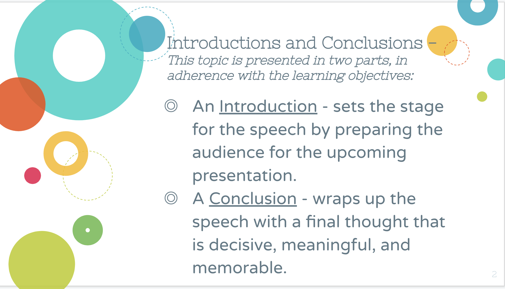 Sample Slide from Introductions and Conclusions PowerPoint