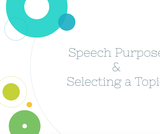 Public Speaking Course Content, Types of Speeches & Selecting a Topic, Speech Purpose & Selecting a Topic