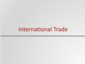 International Trade Resources