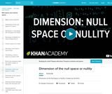 Dimension of the null space or nullity