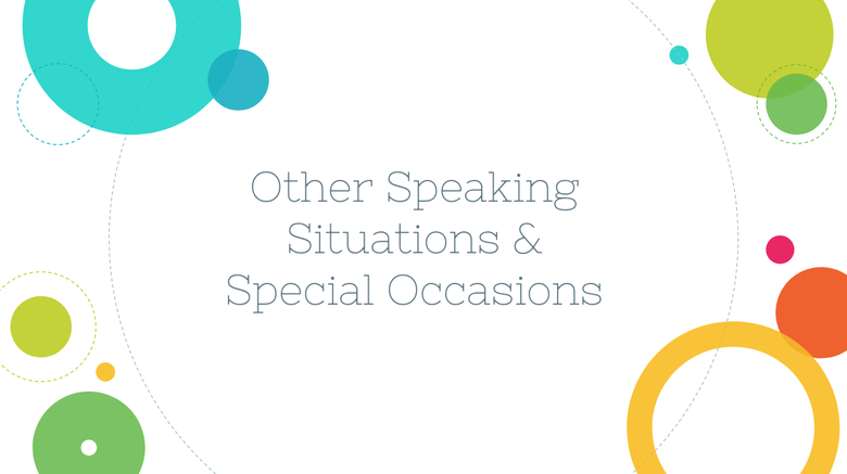 Other Speaking Situations & Occasions Resources